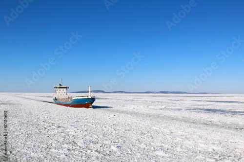 Ship in winter sea - 60414681