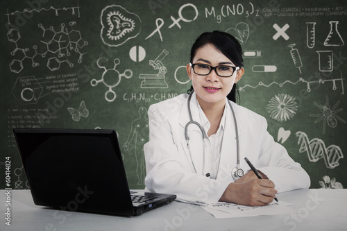 A female doctor working
