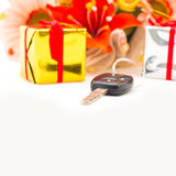 Car keys for gift, objects isolated on white background .