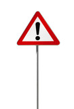 Warning road sign with an exclamation mark isolated on white