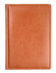 Brown leather diary book cover isolated on white