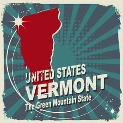 Abstract label with name and map of Vermont, vector