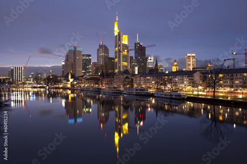 Business district of Frankfurt-am-Main at sunset