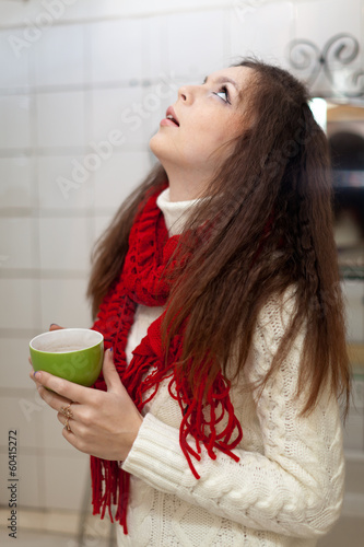 girl gargling throat in her bathroom