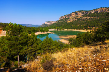 horizontal landscape with mountains lake.