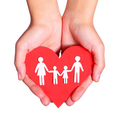Paper family and Heart in hands isolated