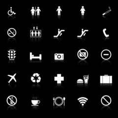 Plublic icons with reflect on black background