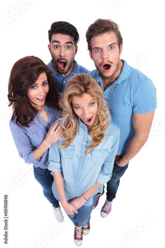 group of amazed and surprised casual people