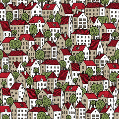 City seamless pattern in colours with trees