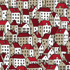 City seamless pattern in colours