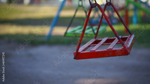 Empty swing in a children's playground