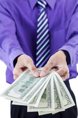 Money dollars in hands