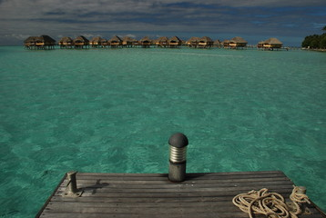 Overwater bungalows. Tahaa, French Polynesia