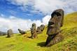 Leinwandbild Motiv Rano Raruku Moai