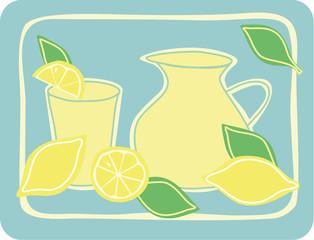 Jug, glass and fresh lemons