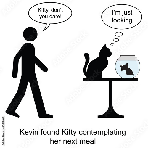 Kevin found Kitty contemplating lunch cartoon