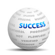 3D ball with words - success, hot, great etc.
