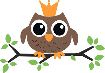 a brown owl with a crown