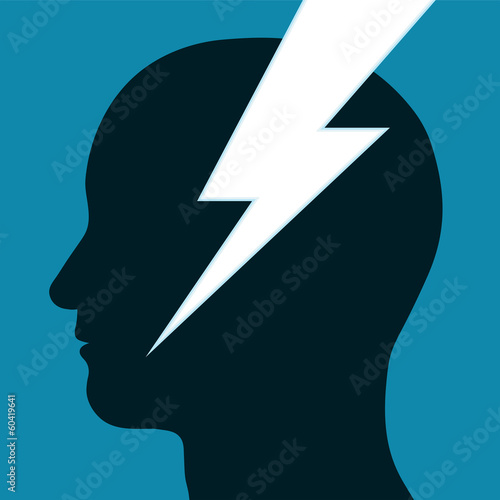 Lightning bolt through a mans head