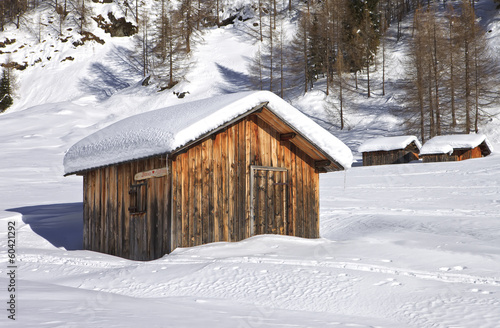 Mountain wooden cabin logs in the Dolomites