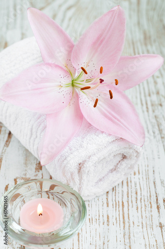 lily flower and candle