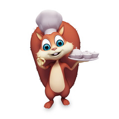 Chef Squirrel with dish