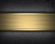 Iron wall with studs and gold nameplate design template - 60421893