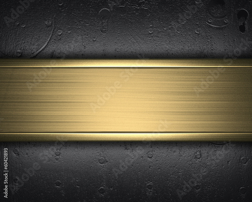 Iron wall with studs and gold nameplate design template