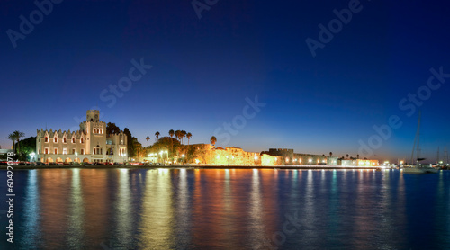 Town of Kos island twilight cityscape