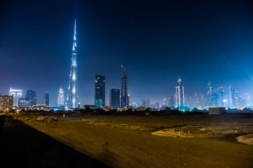Dubai panorama and Burj Khalifa is currently the tallest buildin