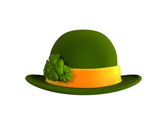 St. Patrick's hat with four-leaf clover. 3d image