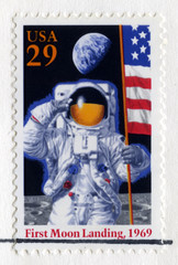 US Stamp Celebrating the 25th Anniversary of the First Moon Land
