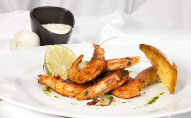 Shrimps prepared with garlic, chilli, white wine and balsamic vi