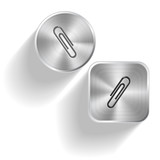 Clip. Vector set steel buttons