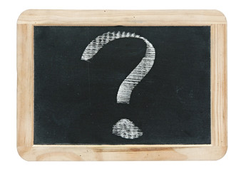 question mark - white chalk drawing on small blackboard isolated