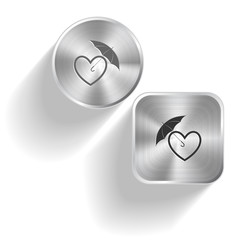 Protection love. Vector set steel buttons