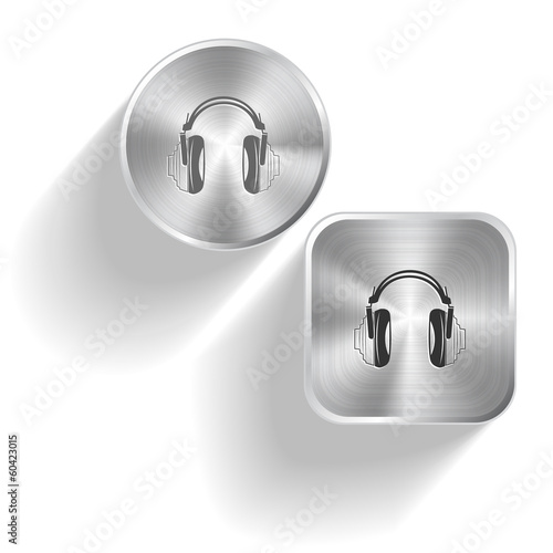 Headphones. Vector set steel buttons