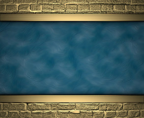 Blue texture with gold bricks at the edges. Design template