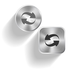 Recycle symbol. Vector set steel buttons