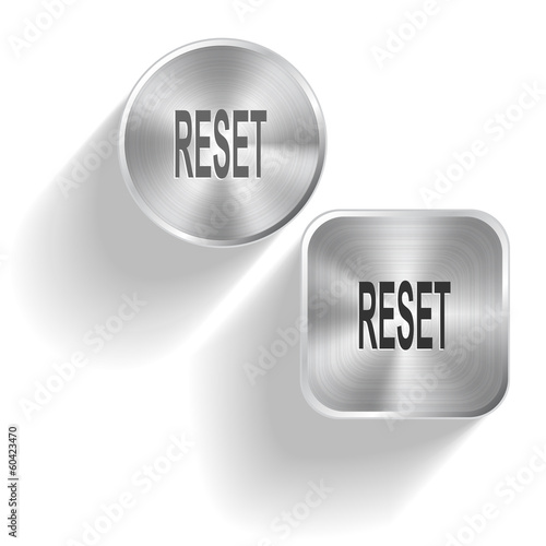 Reset. Vector set steel buttons