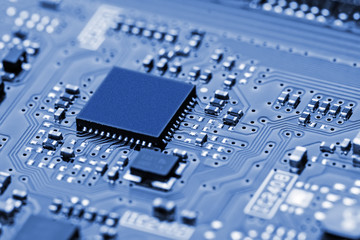 Closeup of electronic circuit board