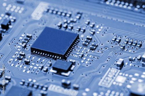 Leinwanddruck Bild Closeup of electronic circuit board