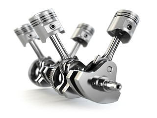 V4 engine pistons and cog