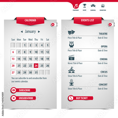 calendar and icons of the most popular events, eps10
