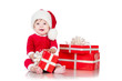Cheerful little Santa Claus with presents. On white background