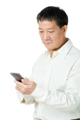 Senior man looking at mobile