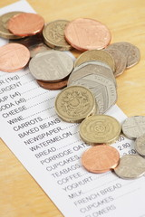 British Coins on a Receipt for Food Shopping