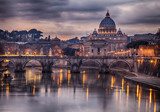 Illuminated bridge in Rome Italy