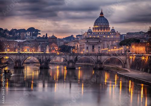 Illuminated bridge in Rome Italy