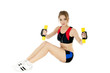 Sports girl  exercising with dumbbells on white background. Heal